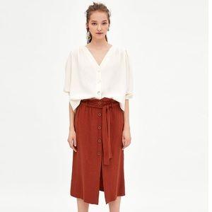 Zara NEW SizeM vneck linen blend shirt